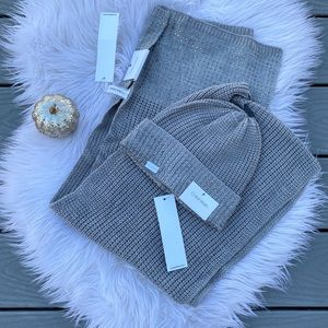 Calvin Klein studded hat and scarf set